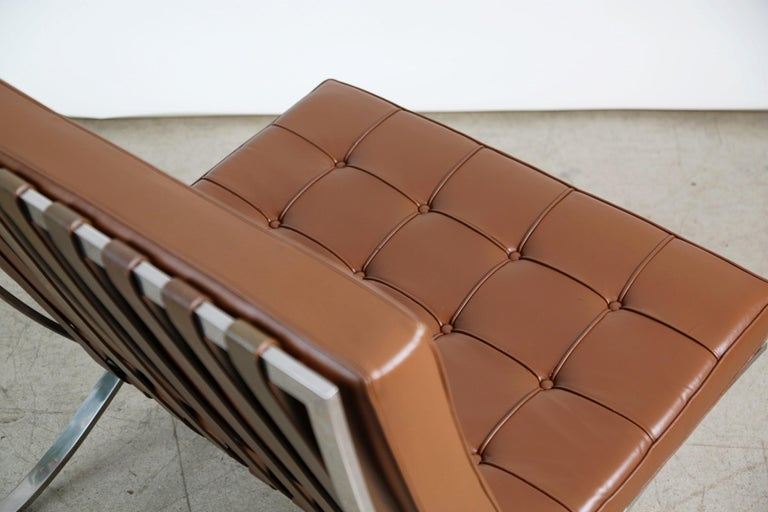 Double Signed Pair of Mies Van Der Rohe Barcelona Chairs for Knoll International For Sale 8