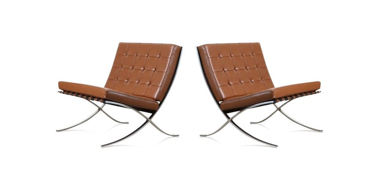Being one of the most copied designs (and a timeless classic), we are always hesitant to purchase an unsigned Barcelona lounge chair and we suggest you be hesitant as well, so of course we were delighted to find this fantastic pair which are both