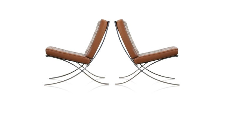 Mid-Century Modern Double Signed Pair of Mies Van Der Rohe Barcelona Chairs for Knoll International For Sale