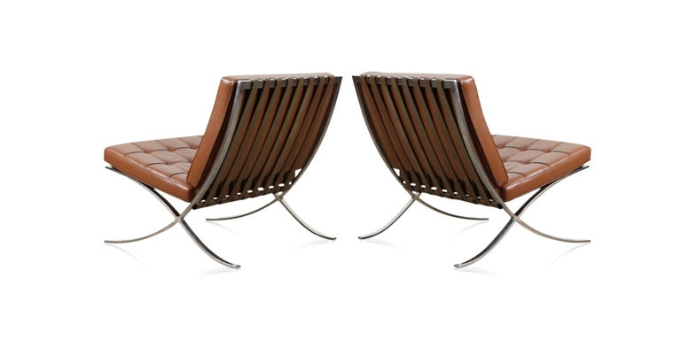 American Double Signed Pair of Mies Van Der Rohe Barcelona Chairs for Knoll International For Sale