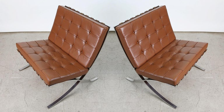 Double Signed Pair of Mies Van Der Rohe Barcelona Chairs for Knoll International In Good Condition For Sale In Los Angeles, CA