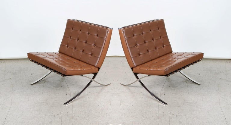 Mid-20th Century Double Signed Pair of Mies Van Der Rohe Barcelona Chairs for Knoll International For Sale