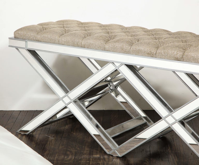 Hollywood Regency Custom Double Silver Trim Mirrored X-Band Bench For Sale