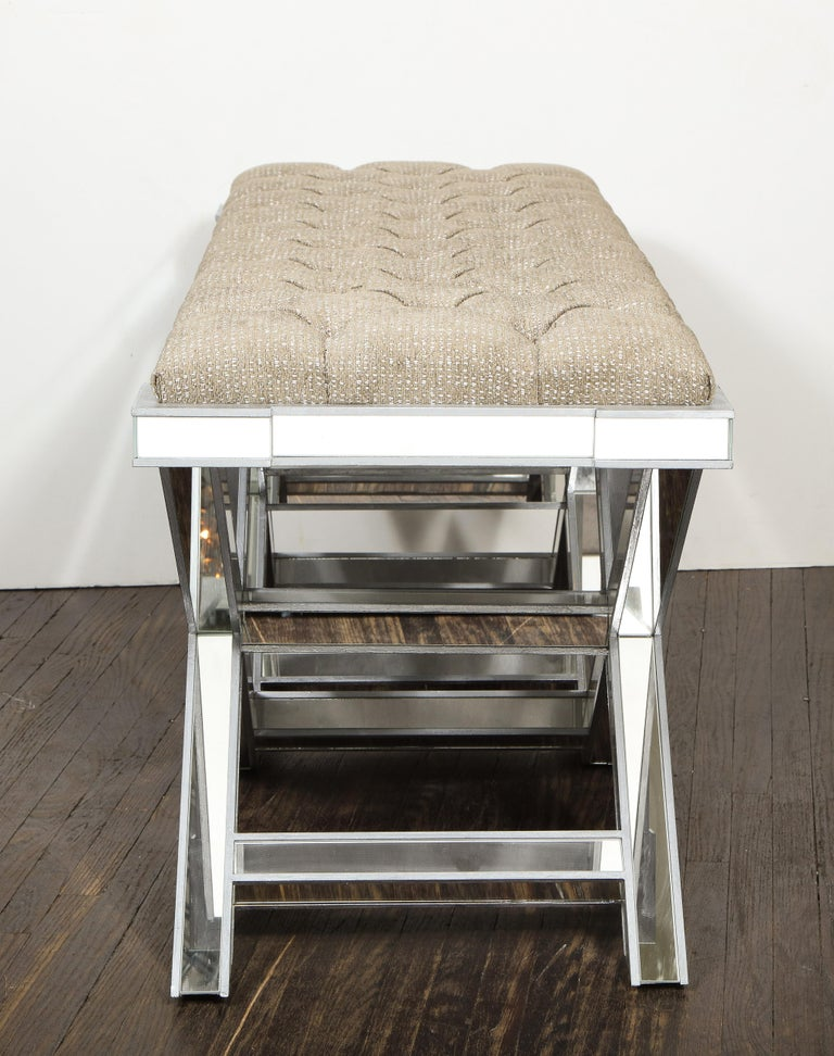 American Custom Double Silver Trim Mirrored X-Band Bench For Sale