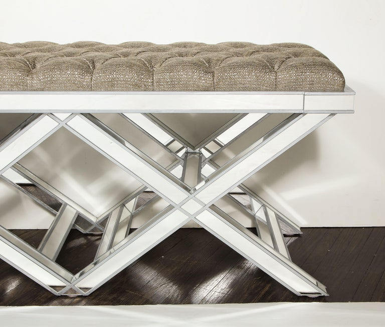 Custom Double Silver Trim Mirrored X-Band Bench In New Condition For Sale In New York, NY