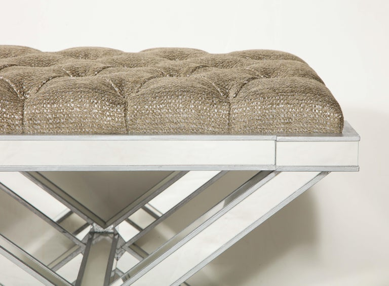 Custom Double Silver Trim Mirrored X-Band Bench For Sale 2