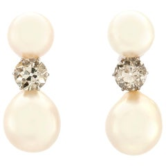 Small Double Pearl Drop Earrings