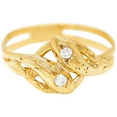Double Snake Ring Diamond Set