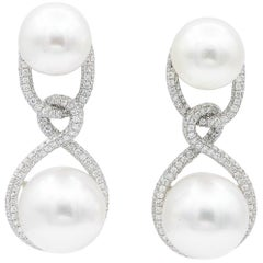 South Sea Pearl Drop Diamond Earrings 1.90 Carats 18K
