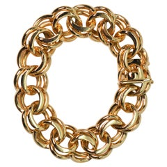 Double Spiral Link Yellow Gold Statement Bracelet