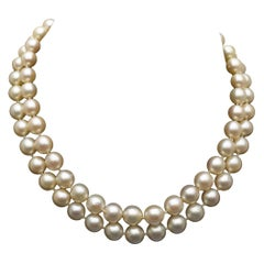 Double Stand Akoya Pearl Necklace with Gem Studded Gold Clasp