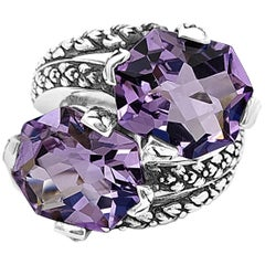 Double Stone Amethyst Ring with Engraved Sterling Silver