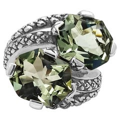 Double Stone Green Amethyst Ring with Engraved Sterling Silver