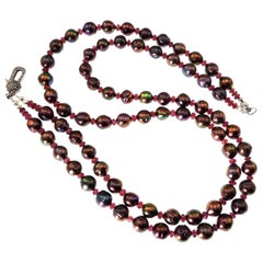 Gemjunky Double Strand Aubergine Pearl and Garnet Necklace