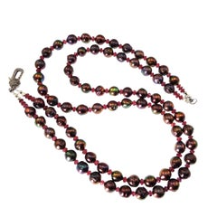 Double strand Aubergine Pearl and Garnet Necklace