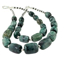 Double Strand Barrel Shaped Emerald Necklace with Silver and Spinel Accents
