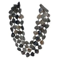 Double Strand Black Rutilated Quartz Silver Plated Hematite Gemstone Necklace