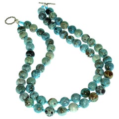 Gemjunky Double Strand Blue Opal and Czech Bead Necklace