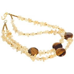 Gemjunky BoHo Chic Double Strand Citrine and Tiger Eye Artistic Necklace