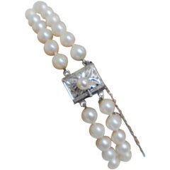 Double Strand Cultured Pearls Bracelet Luxurious Pearl AA Quality