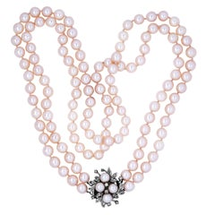 Double Strand Cultured Round Pearl 14 Karat White Gold Diamond Long Necklace