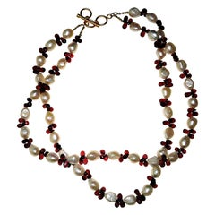 Double-Strand Freshwater Pearl and Rhodolite Garnet Necklace January Birthstone