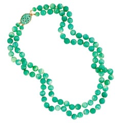 Double Strand Glass Jade Beaded Necklace With Carved Jade Clasp By Jomaz, 1970s