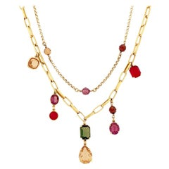 Double Strand Gold Chain Necklace With Jewel Tone Crystals By Swarovski, 1980s