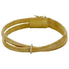 Double Strand Gold Wire Wrapped Crossover Diamond 18 Karat Bracelet