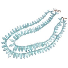 Double Strand Marquise Shaped Aquamarine Beaded Necklace w/ Extender, Gold Clasp