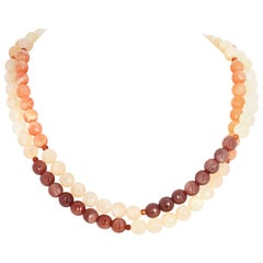 Double Strand Natural Moonstone and Hessonite Garnet with Vermeil Clasp Necklace