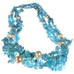 Gemjunky Double strand necklace of Neon Blue polished Apatite Chips