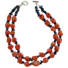 Double Strand Necklace of Peach Coral and Lapis Lazuli