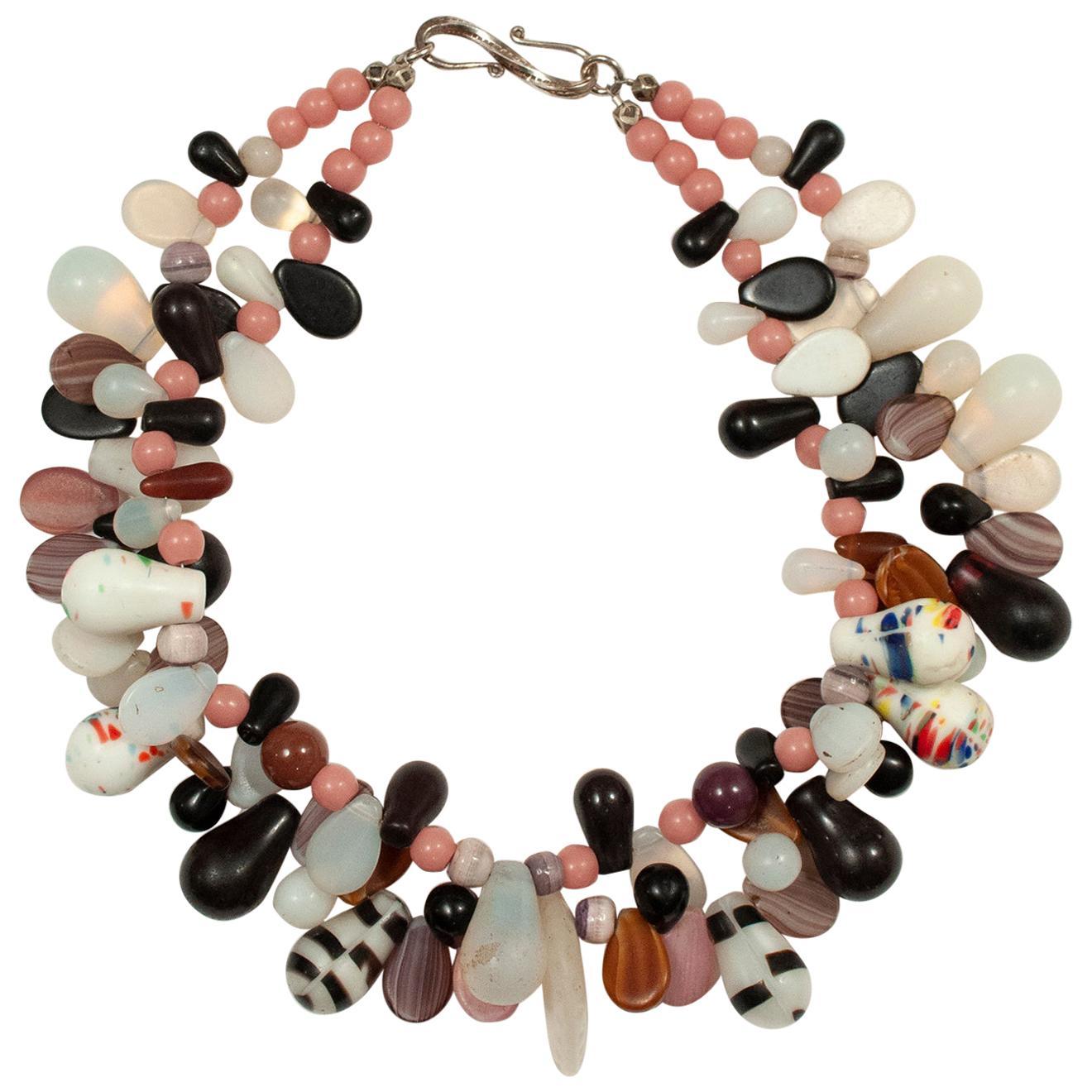 Double Strand Necklace of Pink, Black and White Midcentury Fulani Wedding Beads