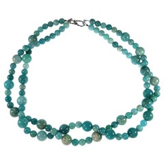 Double Strand Necklace of Polished Amazonite