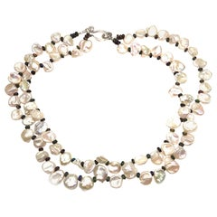 Double Strand Necklace of White Keshi Pearls and Black Opal