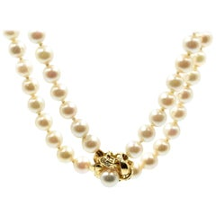 Double Strand of Freshwater Pearls with 14 Karat Yellow Gold Pearl Clasp