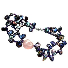 Double Strand of Peacock Keshi Pearls with Rose Quartz Focal Necklace