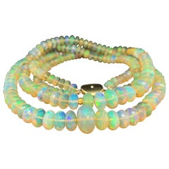 Double Strand Opal Bead Necklace, 170.45 Carat Total, Yellow Gold Accents