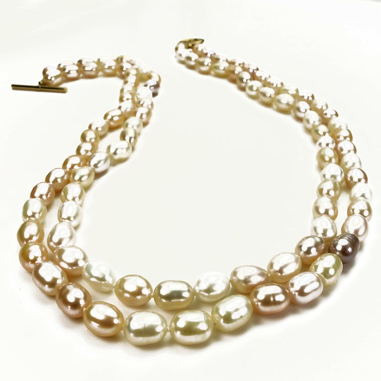 Artisan Double Strand Peach Color Freshwater Pearl Necklace For Sale