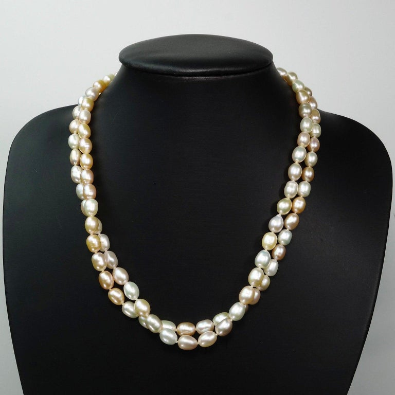 Double Strand Peach Color Freshwater Pearl Necklace In New Condition For Sale In Tuxedo Park , NY