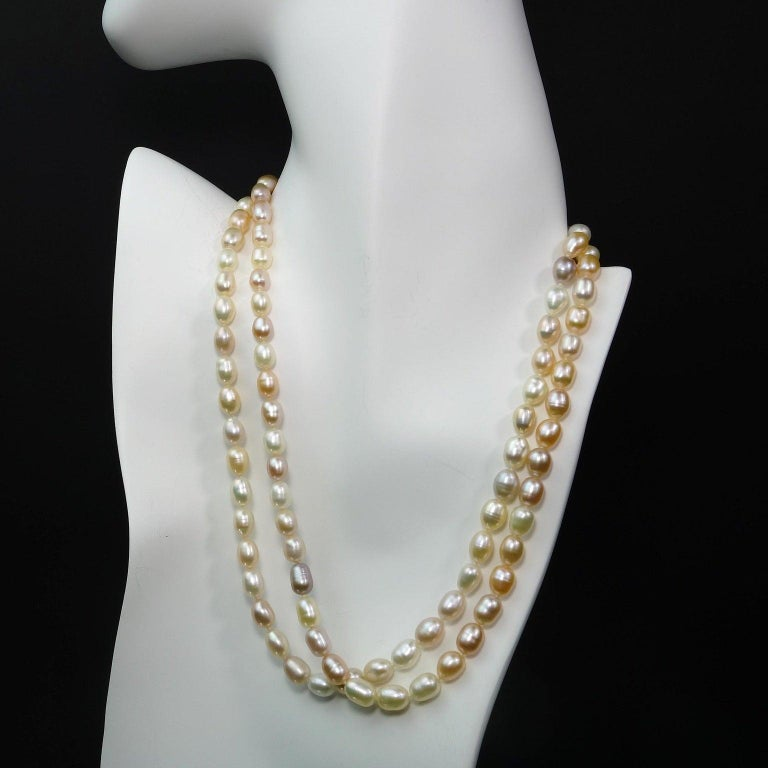Women's or Men's Double Strand Peach Color Freshwater Pearl Necklace For Sale