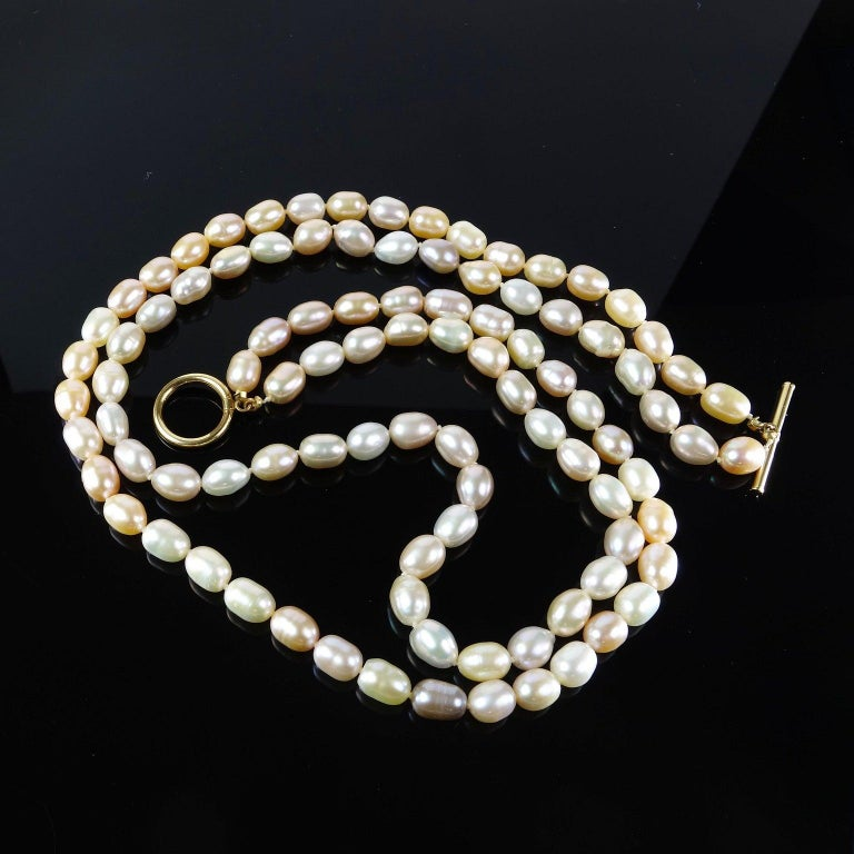 Double Strand Peach Color Freshwater Pearl Necklace For Sale 2