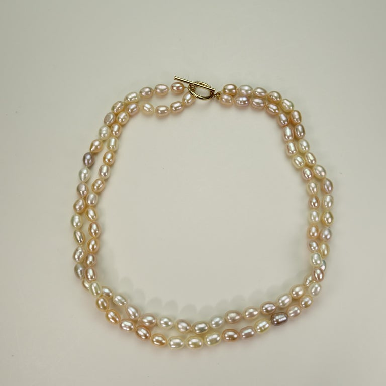 Double Strand Peach Color Freshwater Pearl Necklace For Sale 4