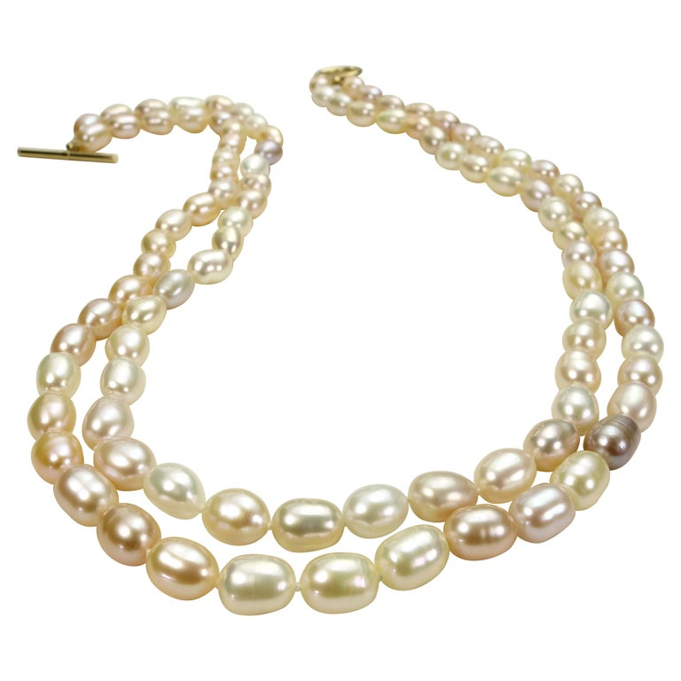 Double Strand Peach Color Freshwater Pearl Necklace For Sale