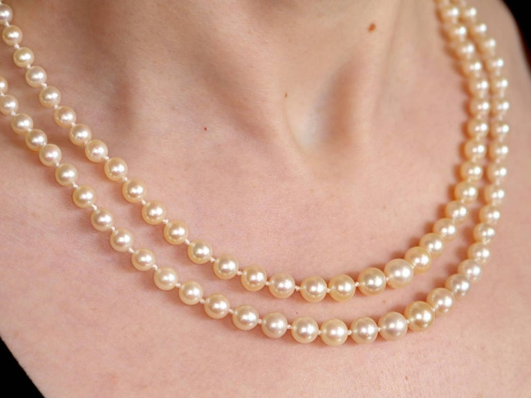 Double Strand Pearl and Diamond Yellow Gold Necklace For Sale 4