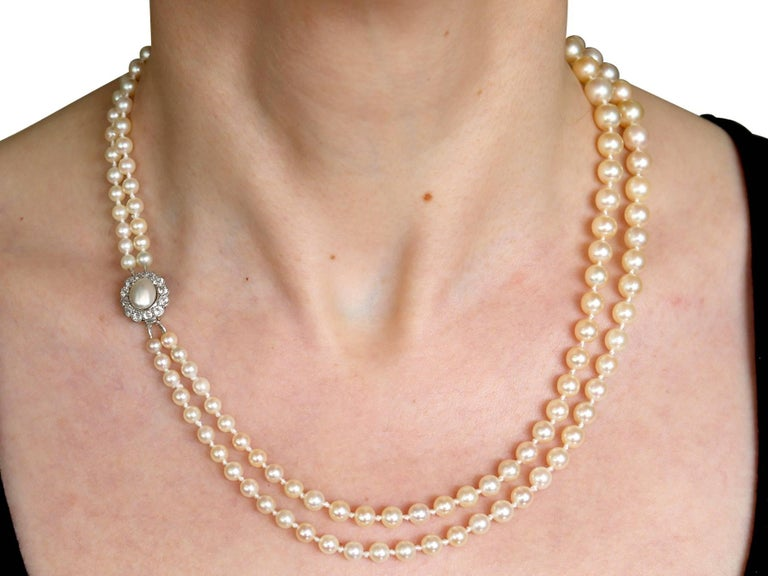Double Strand Pearl and Diamond Yellow Gold Necklace For Sale 5
