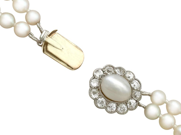 Women's Double Strand Pearl and Diamond Yellow Gold Necklace For Sale