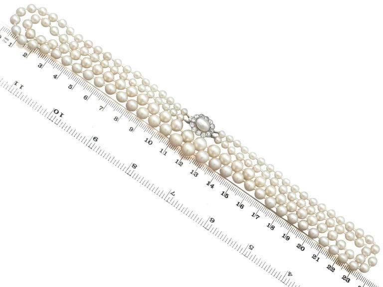 Double Strand Pearl and Diamond Yellow Gold Necklace For Sale 2