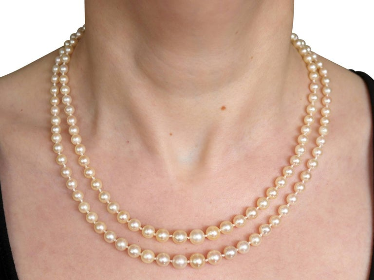 Double Strand Pearl and Diamond Yellow Gold Necklace For Sale 3